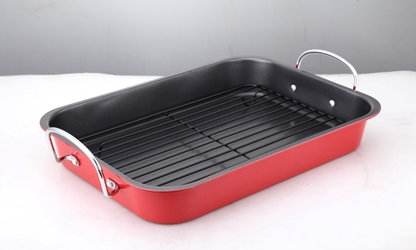 Colours Non-Stick Roaster& Rack 37X28Cm Red